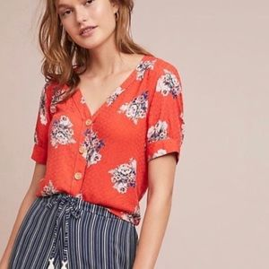 Anthropologie Maeve Hansley Floral Button Down Top